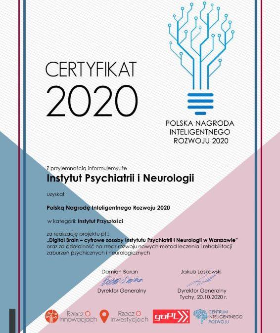 Certyfikat Polskiej Nagrody Inteligentnego Rozwoju 2020